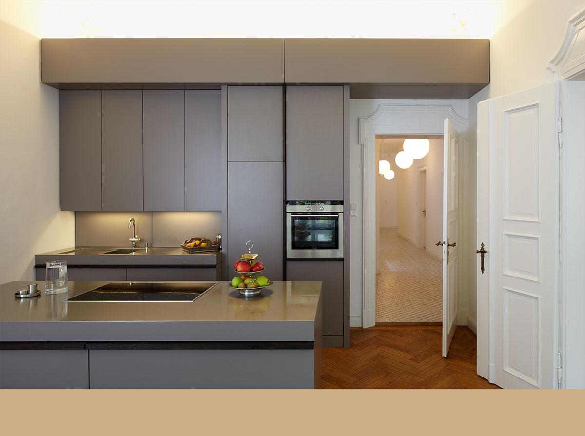 4architekten architekturb ro m nchen wohnbaustein k che sthetische gebrauchsfunktion und. Black Bedroom Furniture Sets. Home Design Ideas
